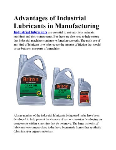 Advantages of industrial lubricants in manufacturing by