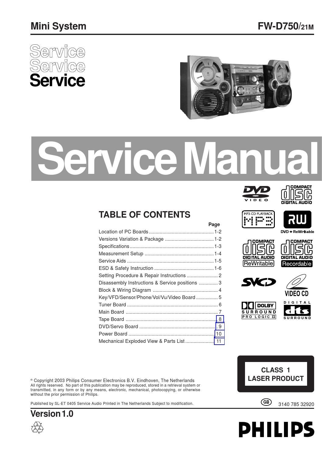 Manual De Servi U00e7o Mini System Philips Fw D750 21m By