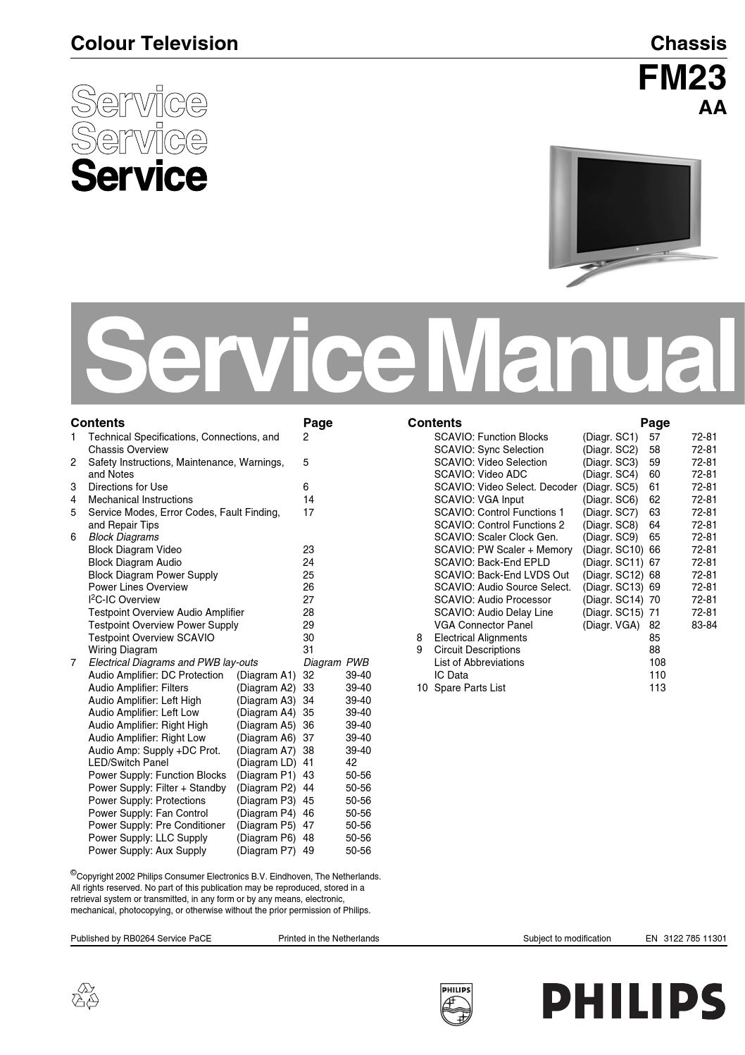 page_1 manual de servi�o televisores philips chassis fm23 aa by portal da  at mifinder.co