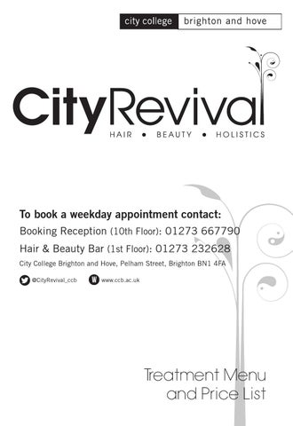 City Revival Salon Price List By City College Brighton And Hove  Issuu