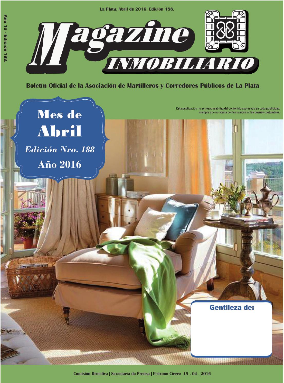Magazine Inmobiliario 188 Mes De Abril De 2016 By Magazine  # Muebles Giudice La Plata