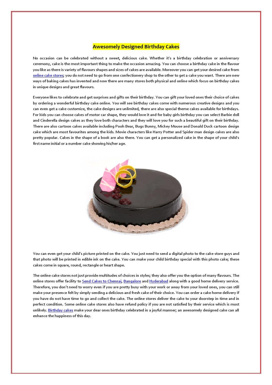 Astounding Awesomely Designed Birthday Cakes By Ordermycake Issuu Personalised Birthday Cards Vishlily Jamesorg
