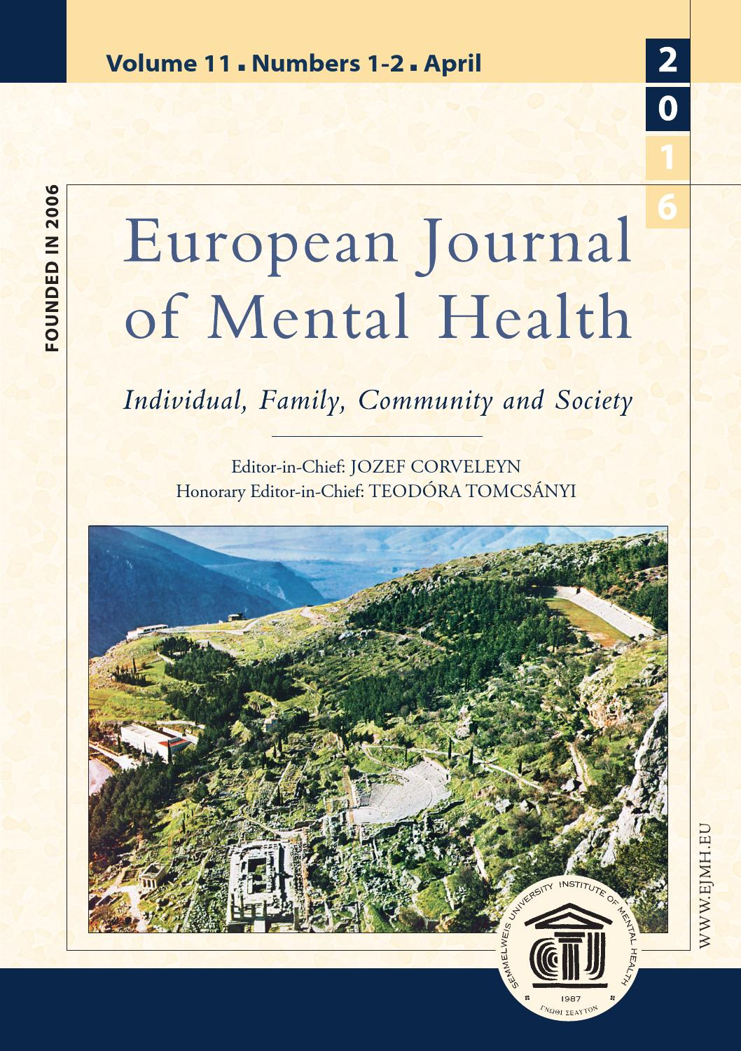 European Journal of Mental Health 11 2016/12 by European Journal of ...