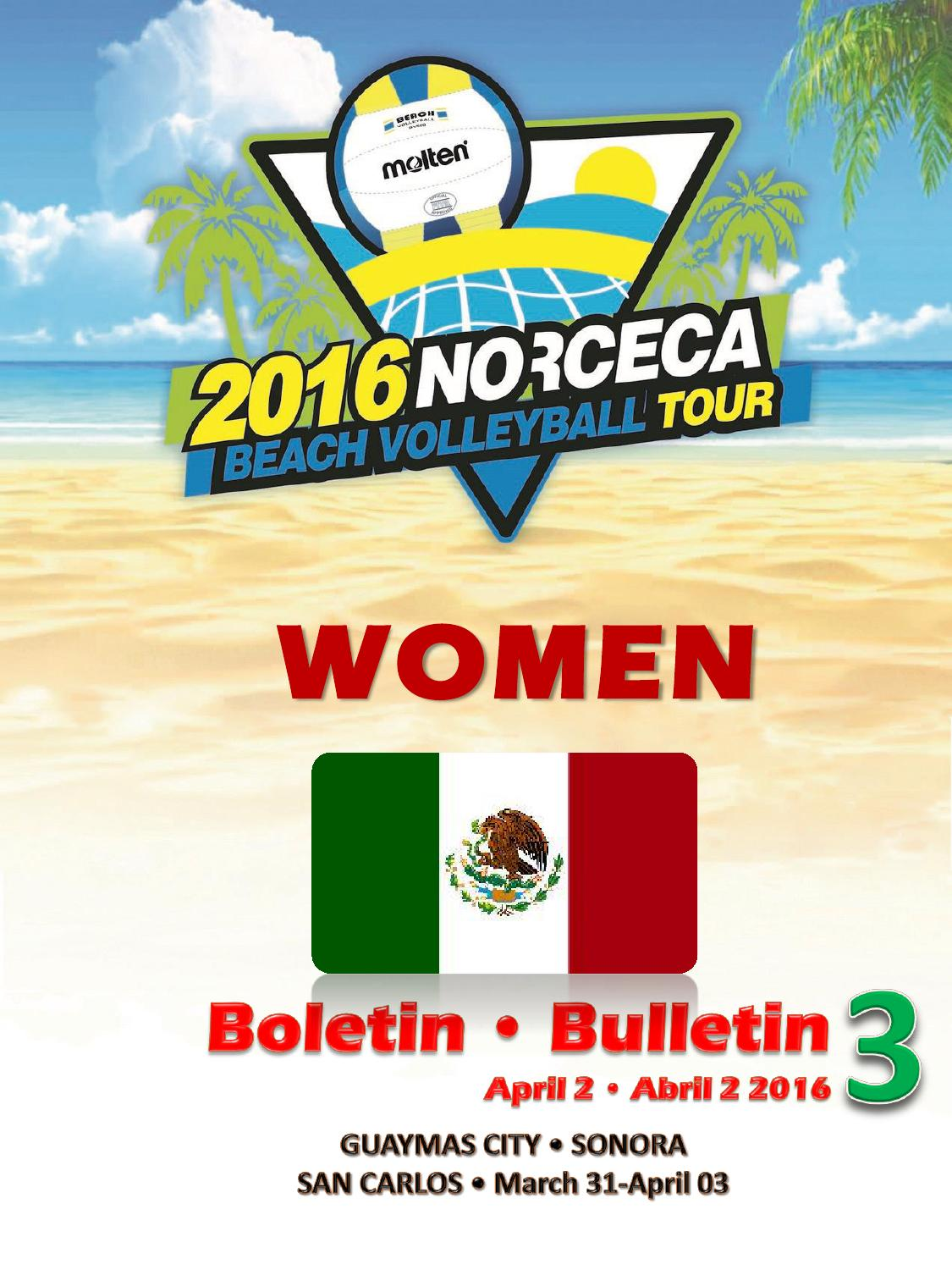 Boletin No 3 Guaymas Norceca Womens Beach Volleyball by