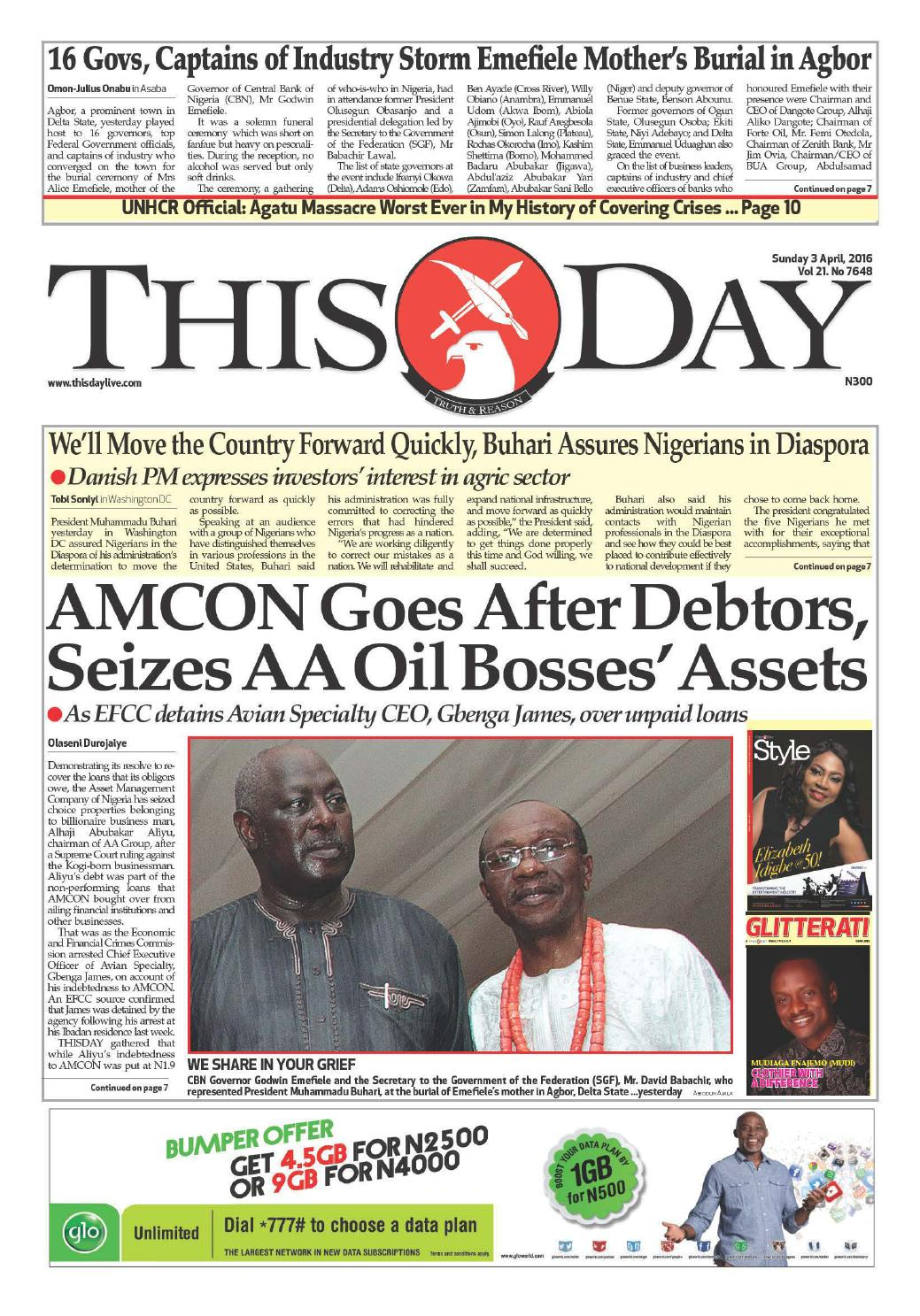 297f4a3b674 Sunday 3rd April 2016 by THISDAY Newspapers Ltd - issuu