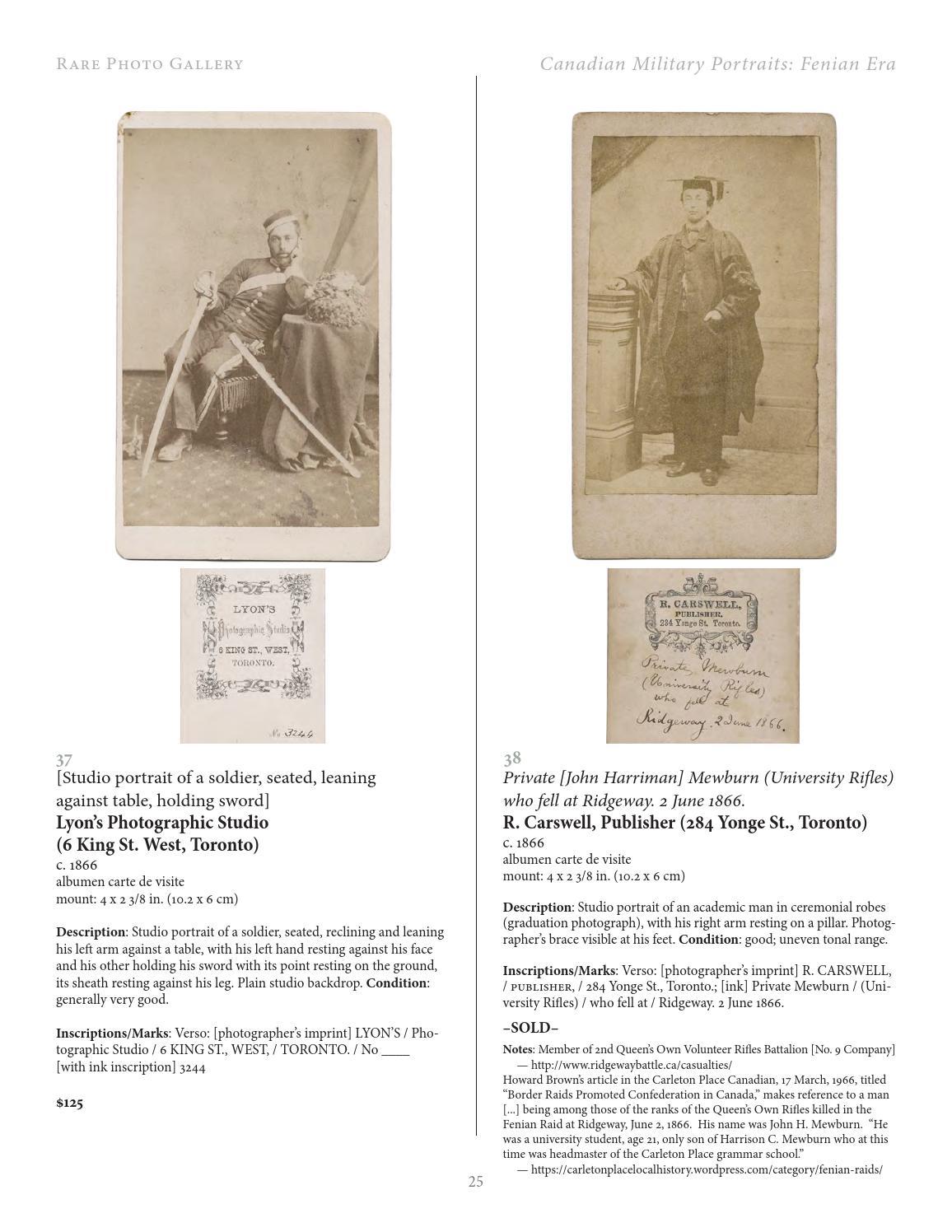 The Fenian Raids Era Photographs And Ephemera By Rare Photo Gallery
