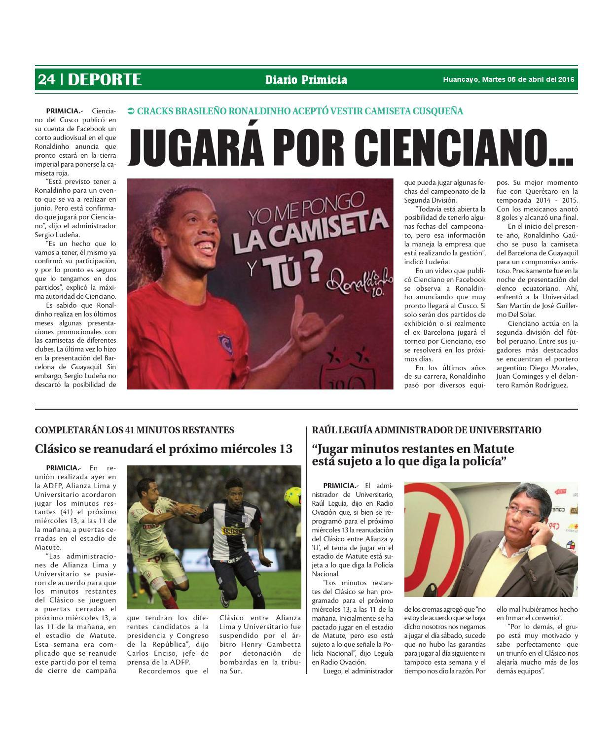 Diario Primicia Huancayo 05/04/16 by Diario PRIMICIA - issuu