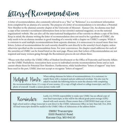 Umkc sorority recruitment guide 2016 by amanda boone issuu letters of recommendation a letter of recommendation also commonly referred to as a rec or reference is a recruitment information form completed by altavistaventures Gallery