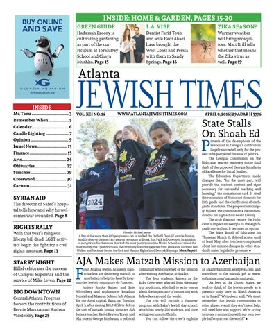 Atlanta Jewish Times, Vol  XCI No  14, April 8, 2016 by