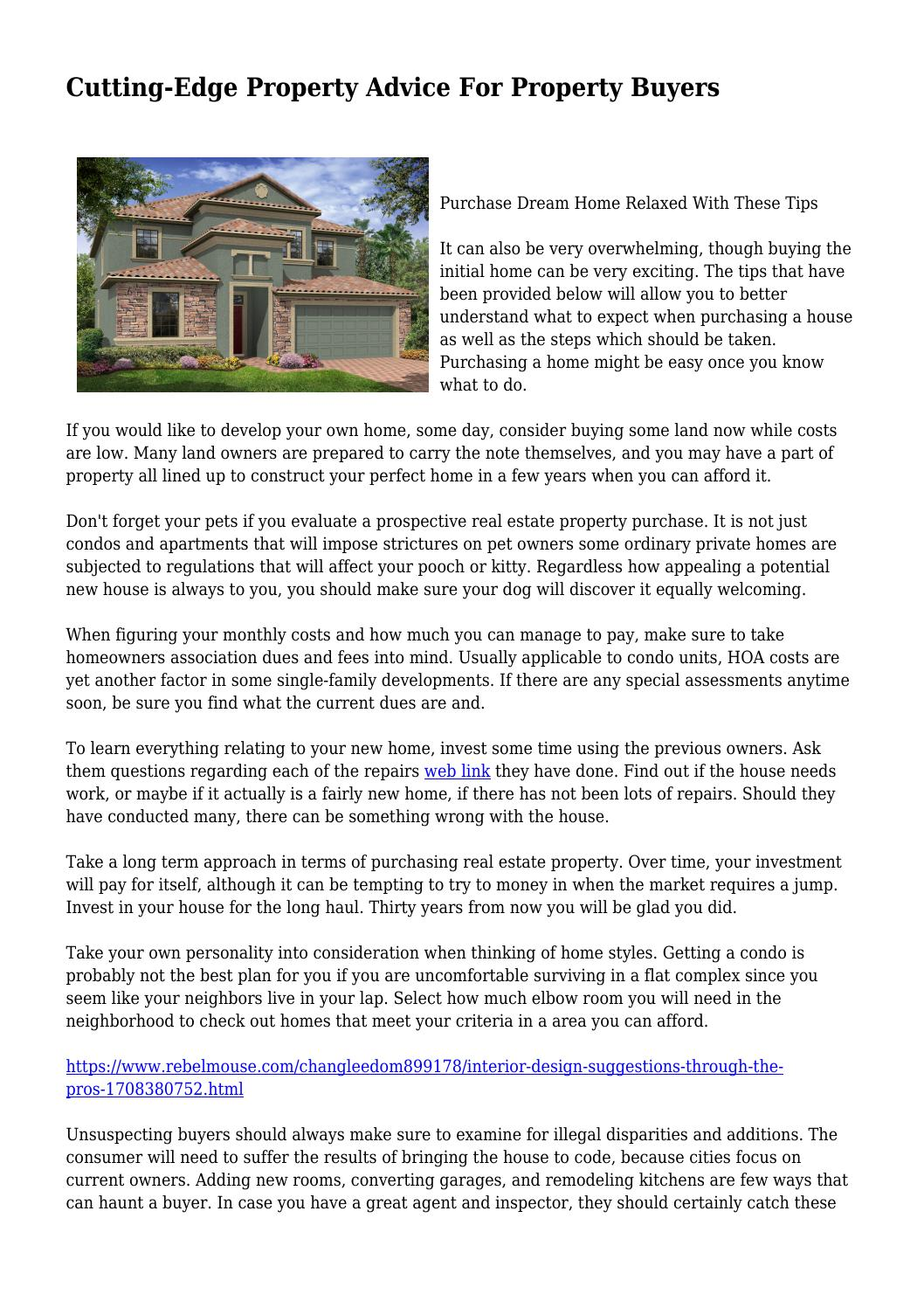 cutting-edge property advice for property buyers by