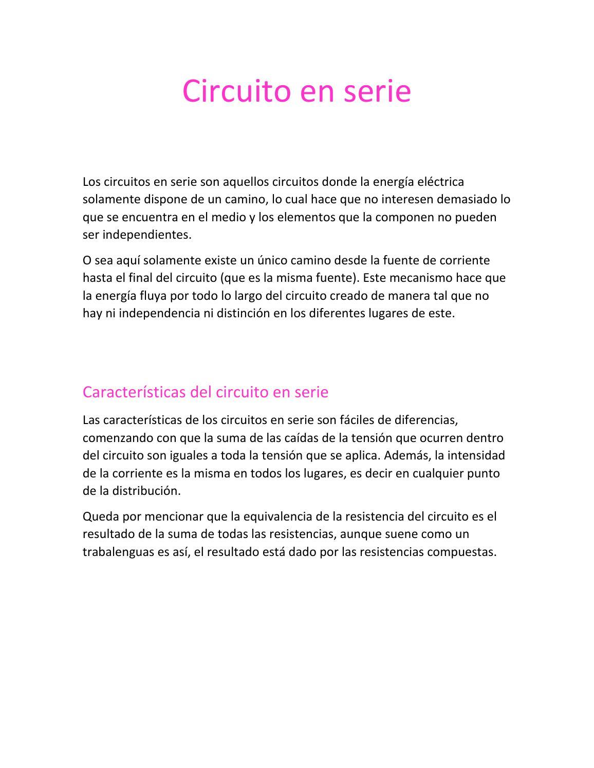 Circuito Que Es : Circuito en serie by diana rengifo issuu