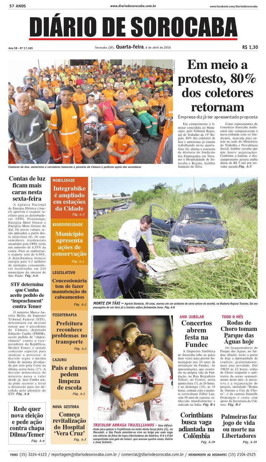 Edição de 6 de abril de 2016 by DIÁRIO DE SOROCABA - issuu 0c03718bdd95a