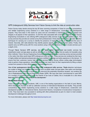 Gpr underground utility services from falcon survey to limit