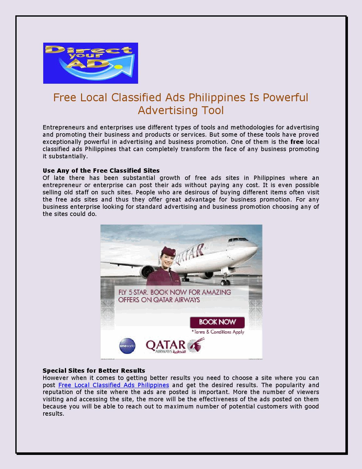 Free local classified ads philippines is powerful advertising tool