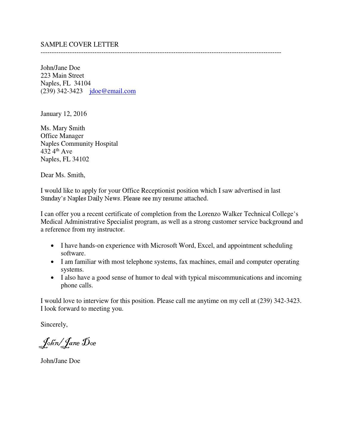sample cover letter by marie coleman