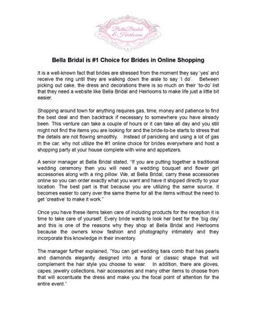 Bella bridal is #1 choice for brides in online shopping by