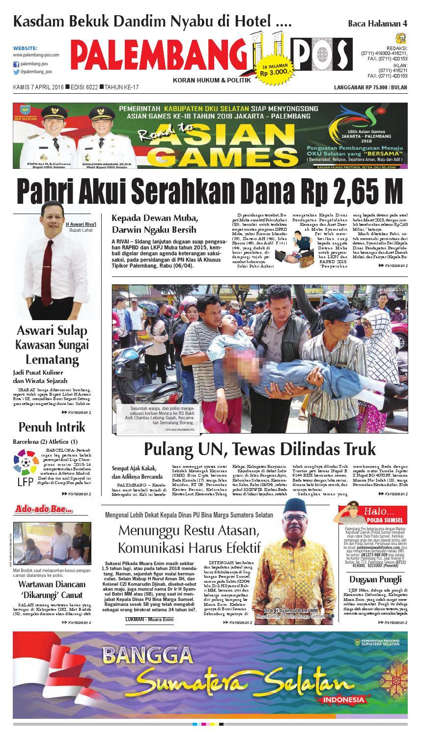 Palembang Pos Edisi Kamis 7 April 2016 By Issuu Produk Ukm Bumn Baju Muslim Anak Laki Dannis Nomor 10 Abu