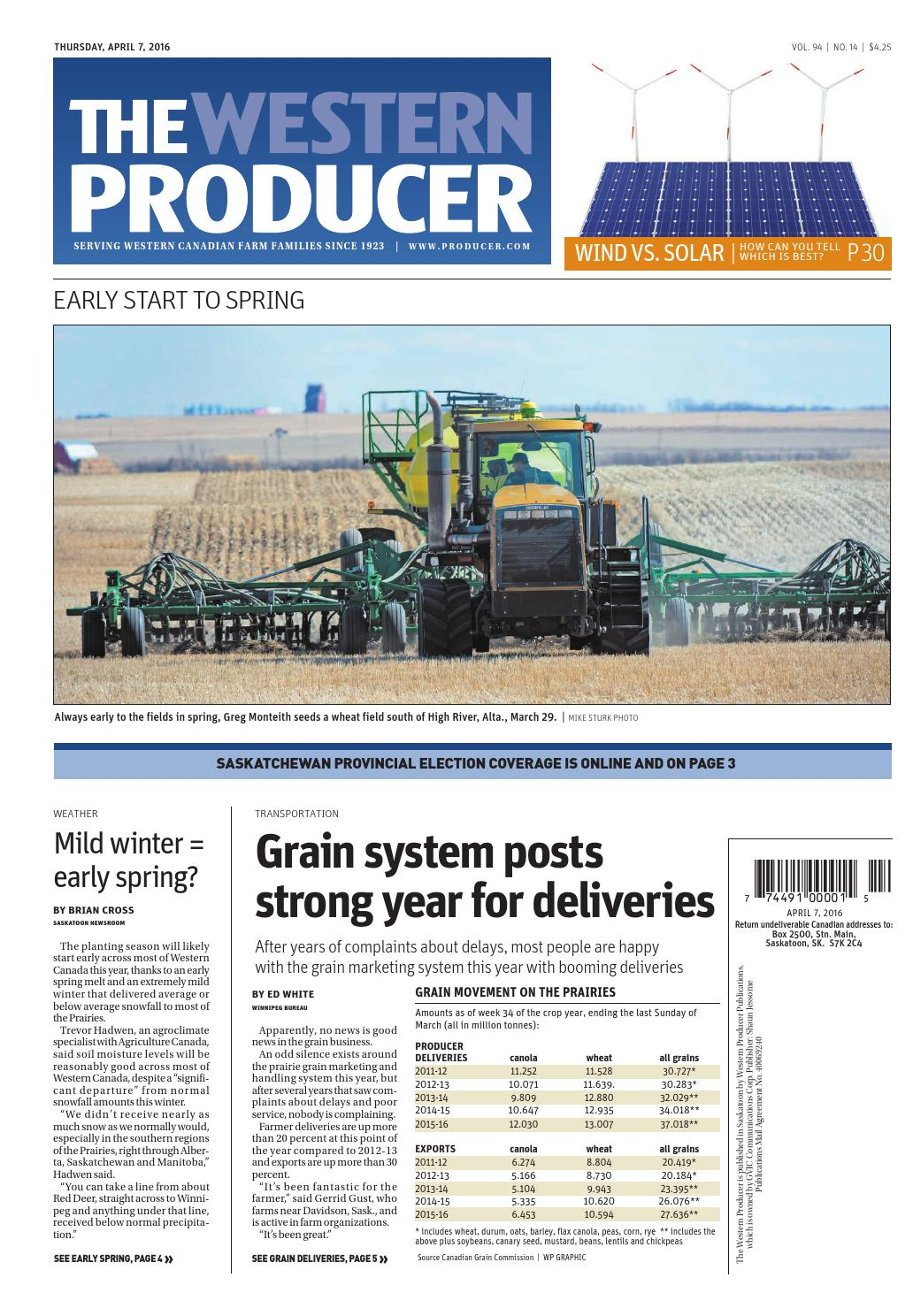 The western producer april 7, 2016 by The Western Producer - issuu