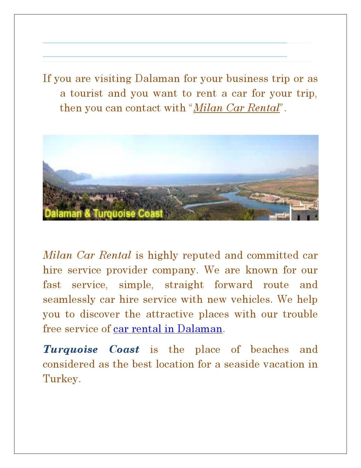 cheap car rental dalaman by milan car rental - issuu