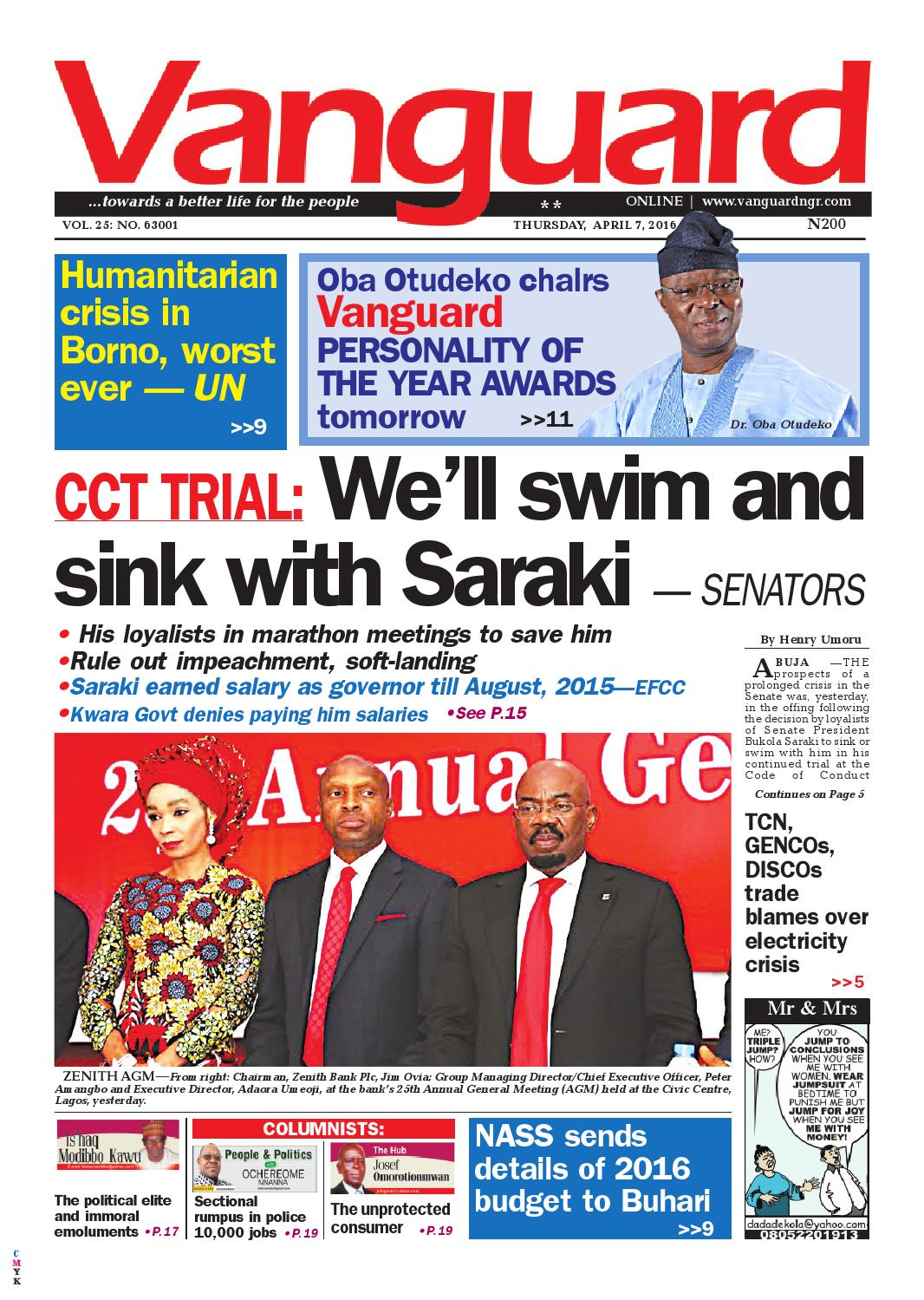 Cct Trial Well Swim And Sink With Saraki Senators By Vanguard Novel Burned Alive Oleh Souad Media Limited Issuu