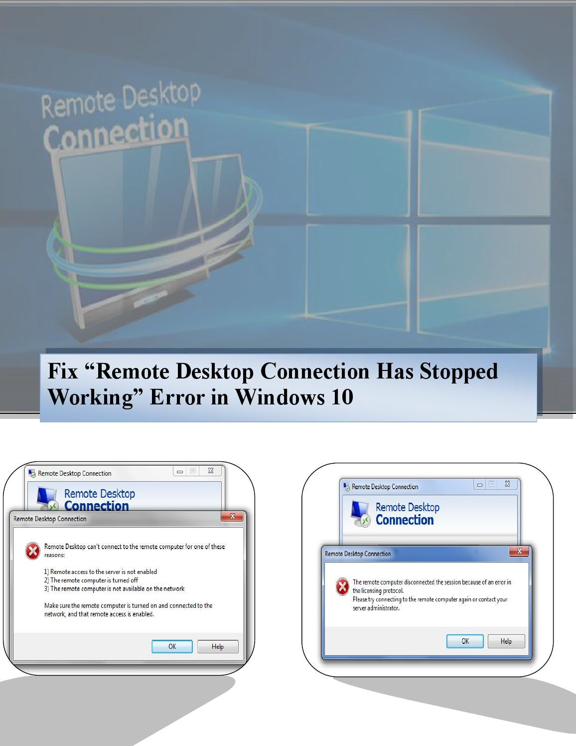 Fix remote desktop connection has stopped working in windows