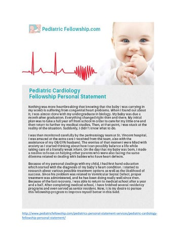 Pediatric Fellowship Personal Statement Samples - Issuu