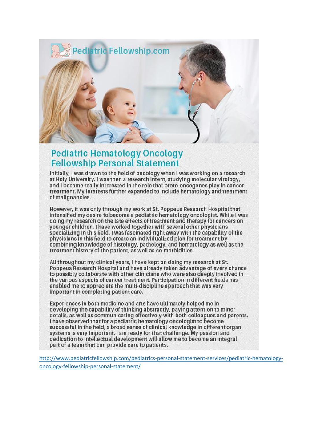 Pediatric Hematology Oncology Fellowship Personal Statement by