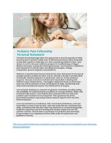 pediatric neurology personal statement
