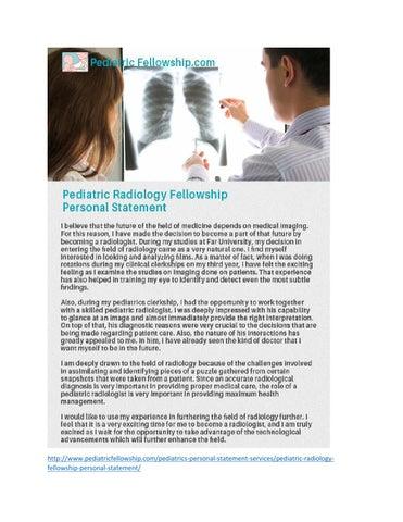 Pediatric Fellowship Personal Statement Samples - Issuu