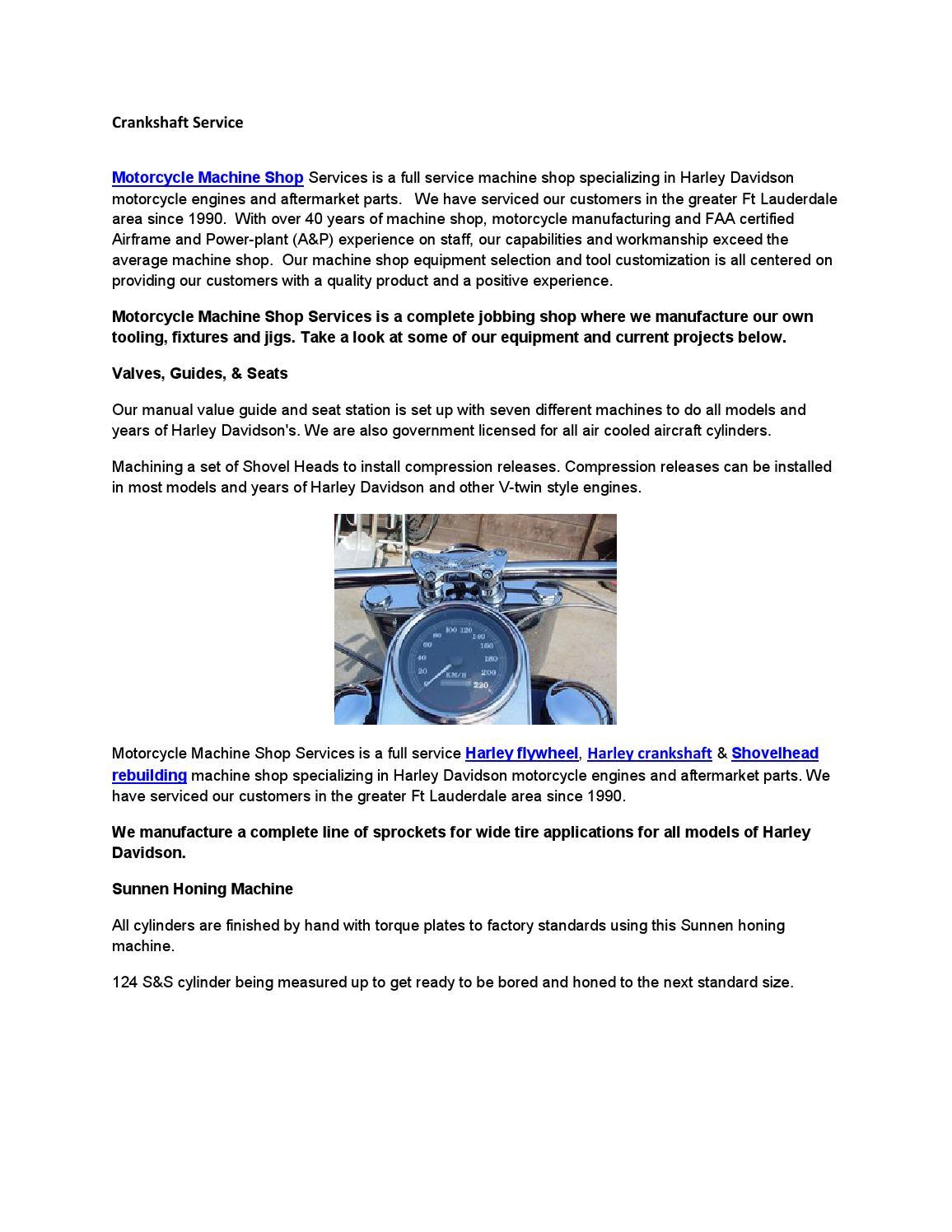 Crankshaft Service By Motorcycle Machine Shop Issuu Harley Engine Parts Diagram