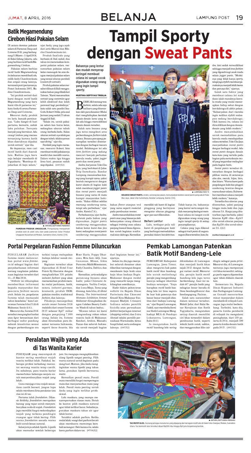 Lampung Post Jumat 8 April 2016 By Issuu Poppy Dharsono Batik Katun