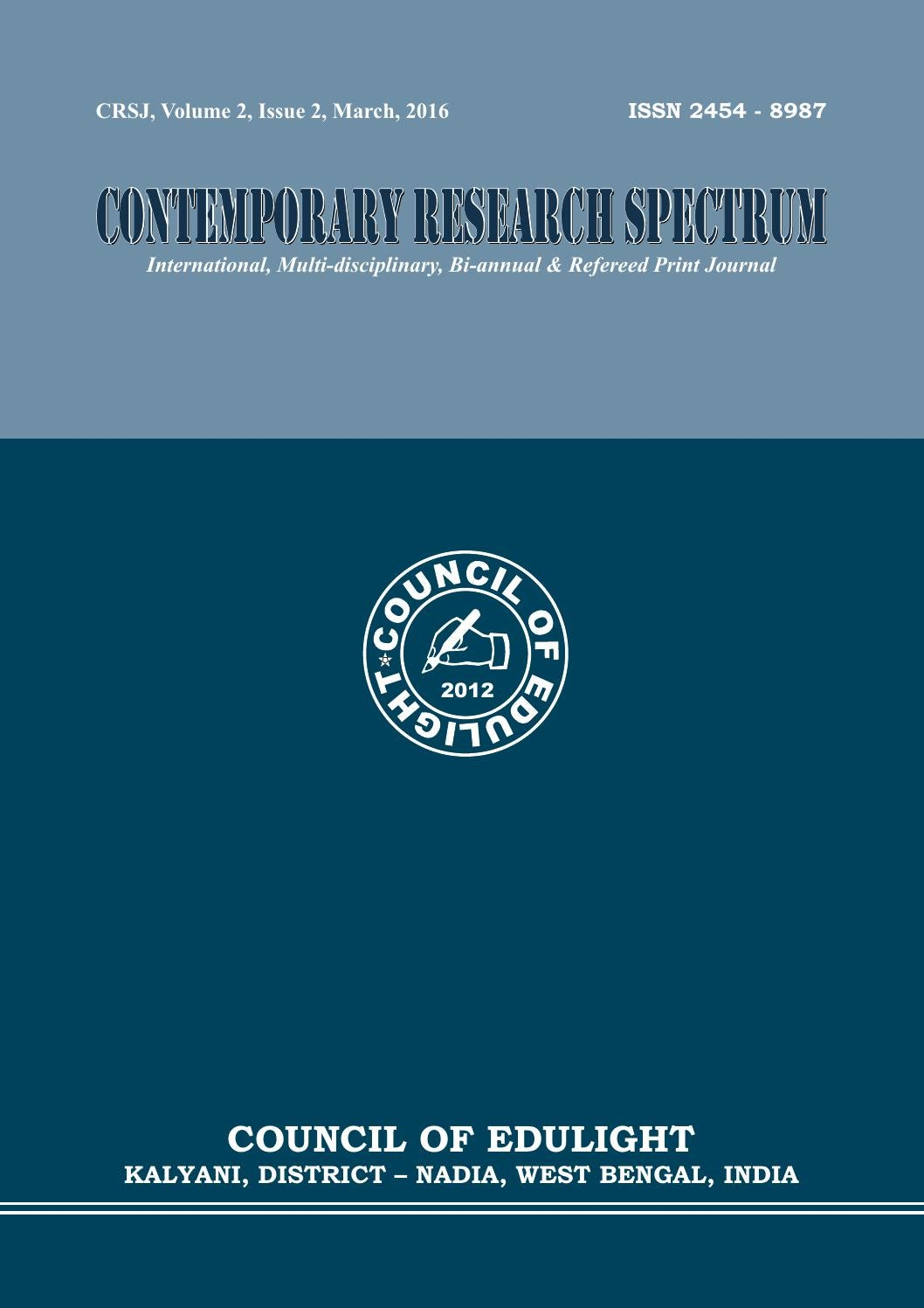 contemporay research spectrum journal march 2016 by ajit mondal issuu