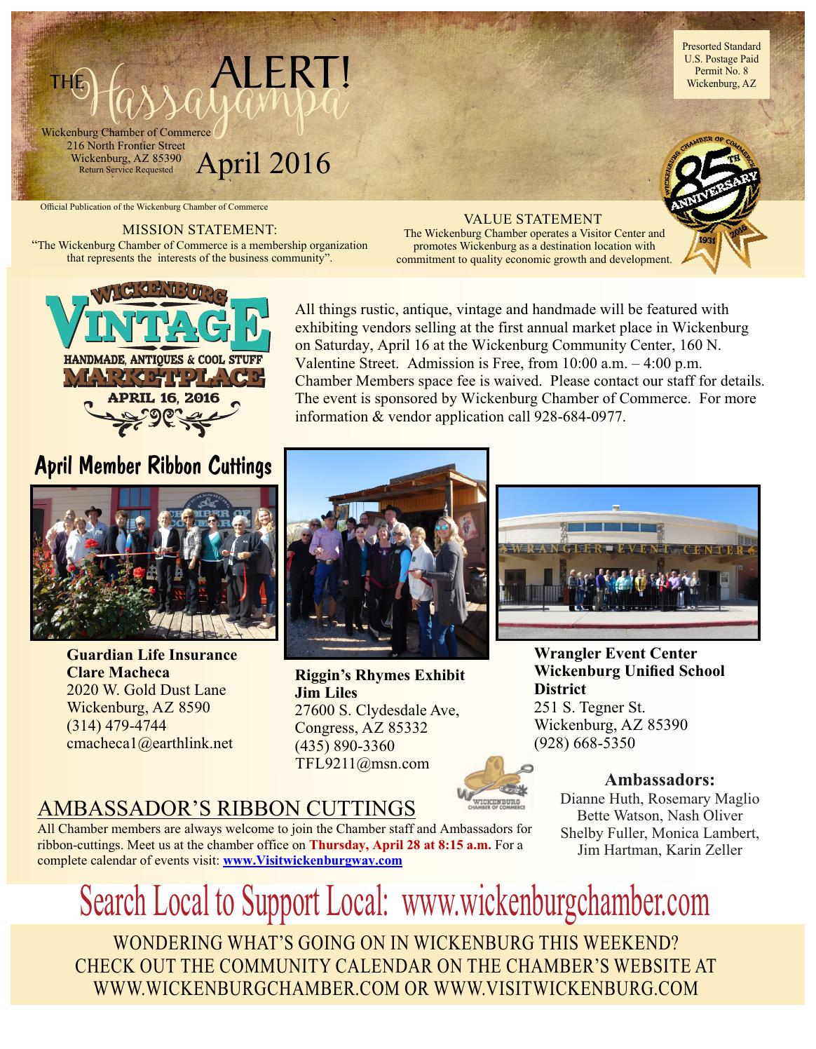 Hassayampa Alert April 2016 By Wickenburg Chamber Of Commerce