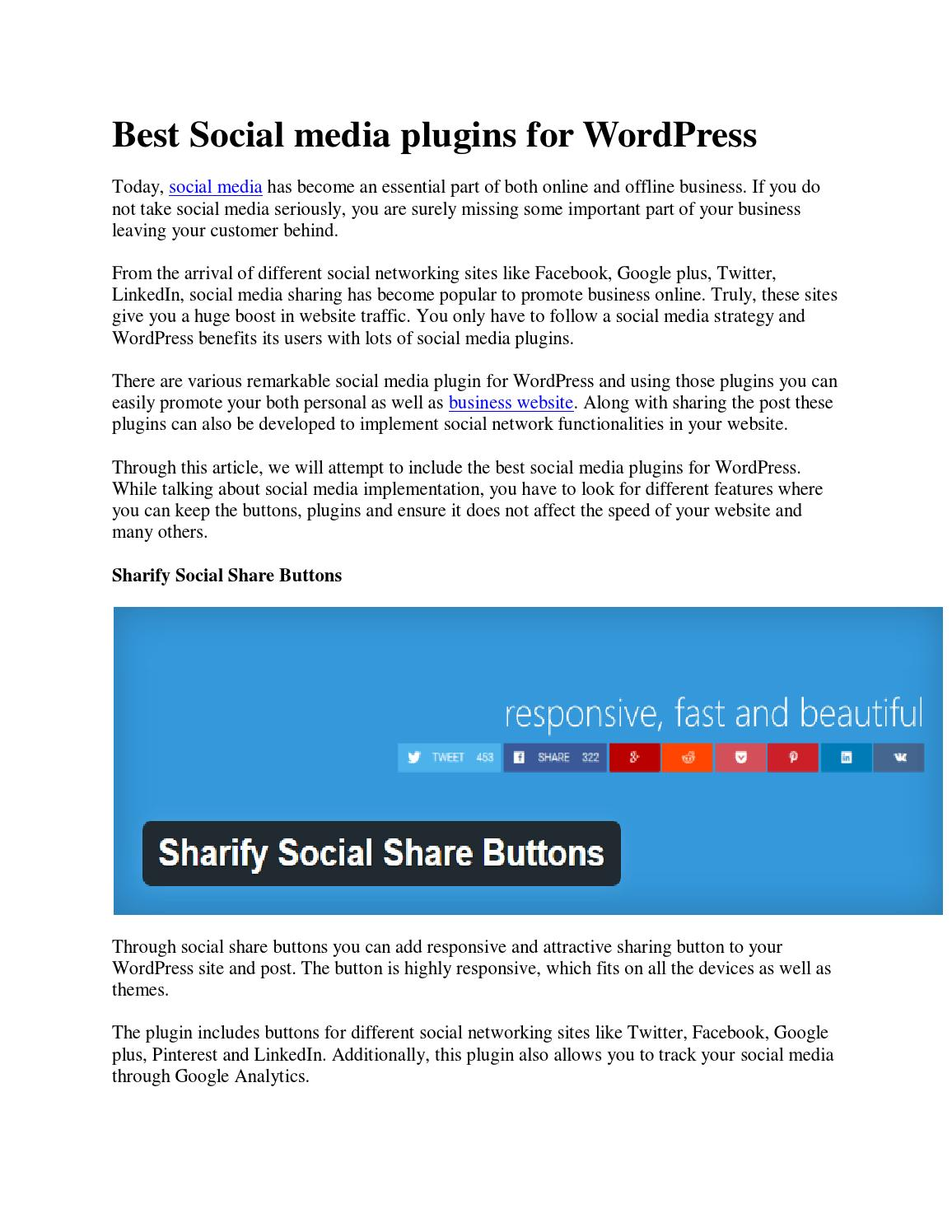 Best social media plugins for wordpress by Marshall - issuu