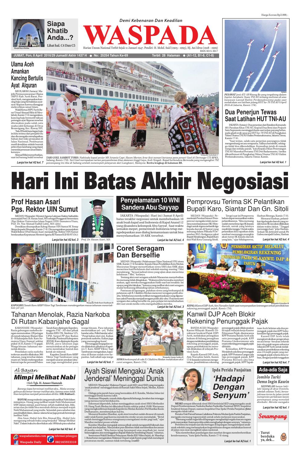 Wasapada Jumat 8 April 2016 By Harian Waspada Issuu