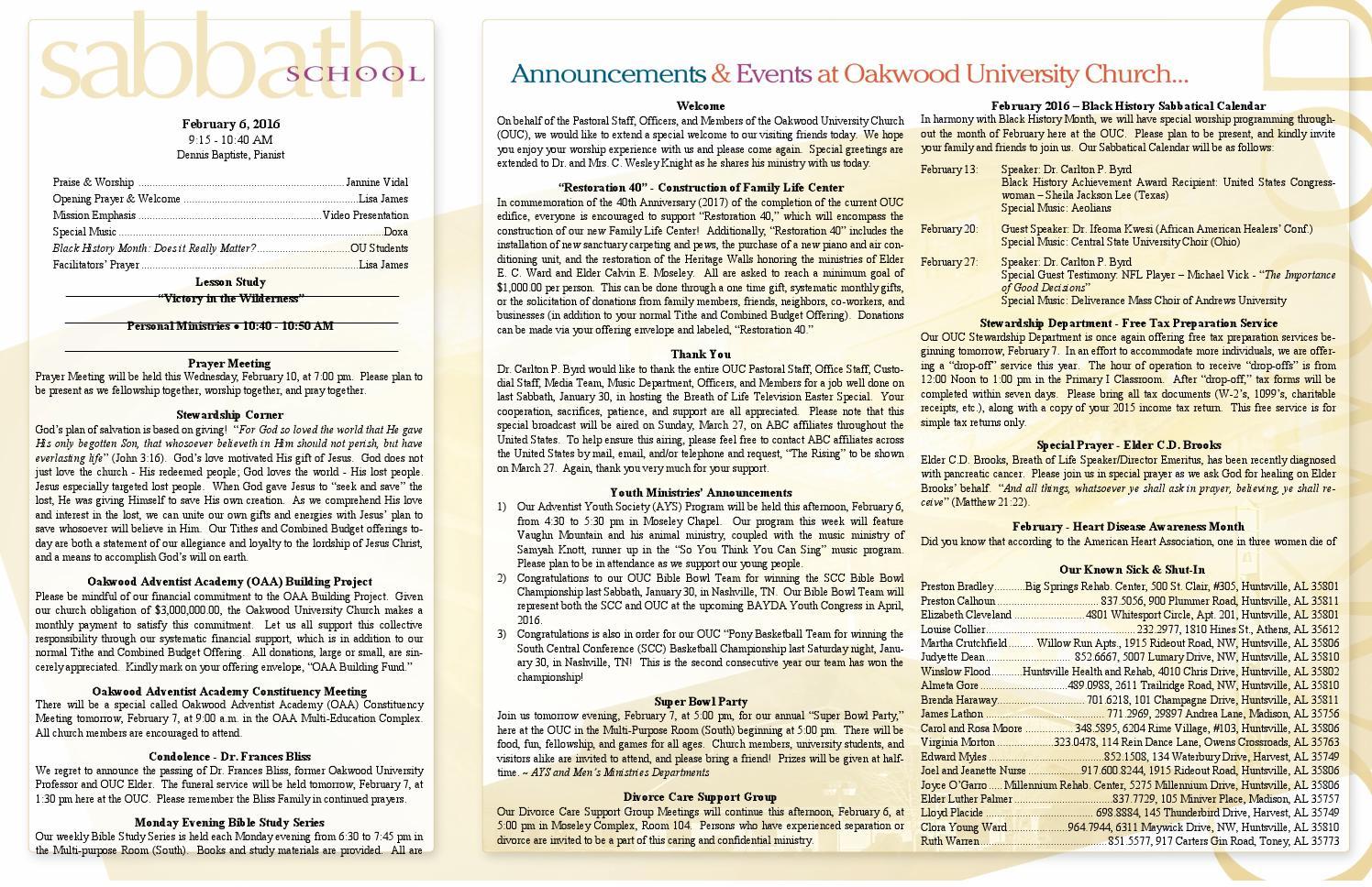 Bulletin 2 6 16 by Oakwoodsda - issuu