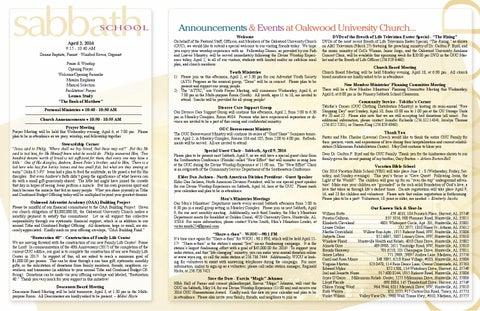 Bulletin 4 02 16 by Oakwoodsda - issuu