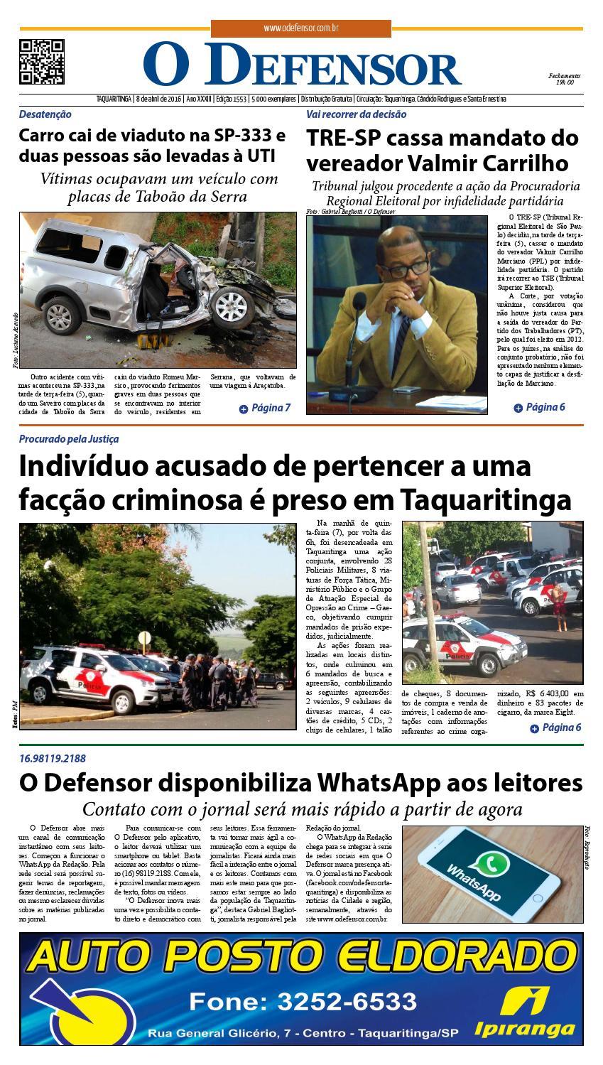 Jornal O Defensor 8 de abril de 2016 by gabriel baglioti - issuu 30d0ef7607df1