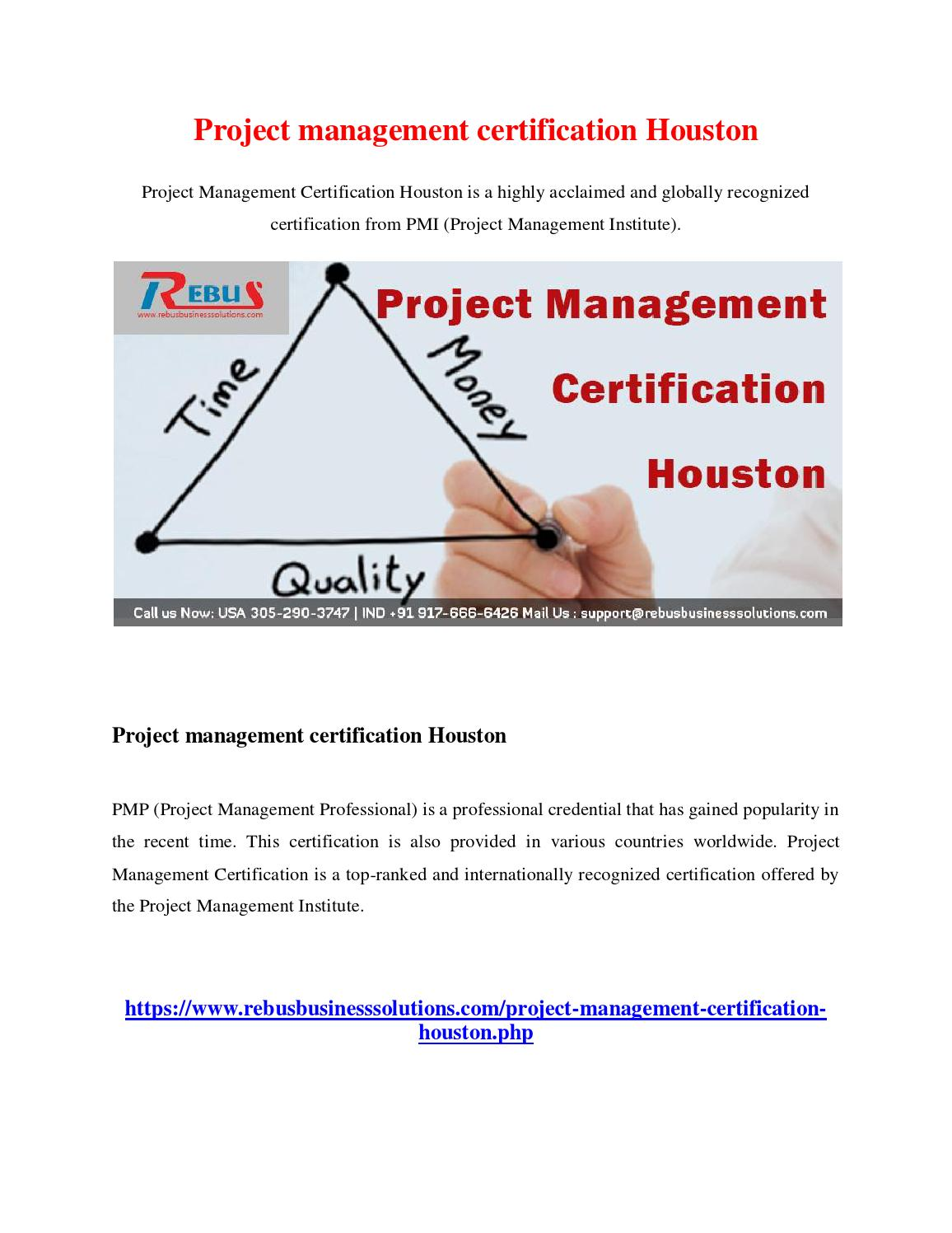 Project Management Certification Houston By Deviprabakar Issuu