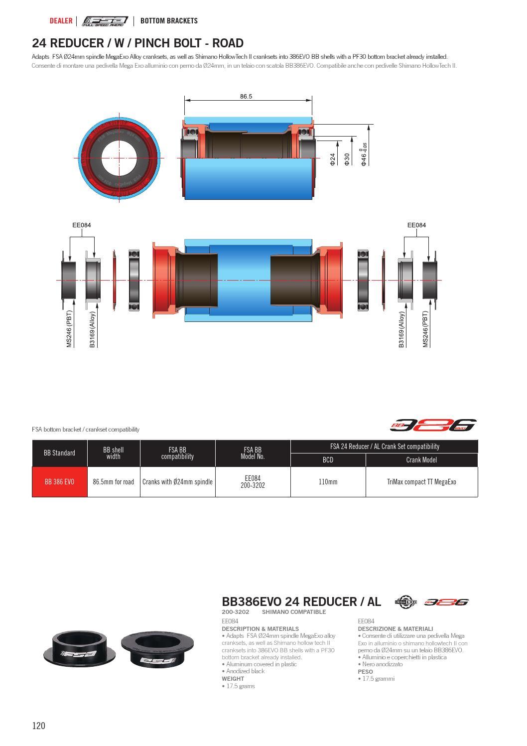 FSA BB386 Evo 24 Reducer for Shimano Cranks