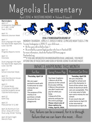 magnolia elementary newsletter by pearland isd issuu