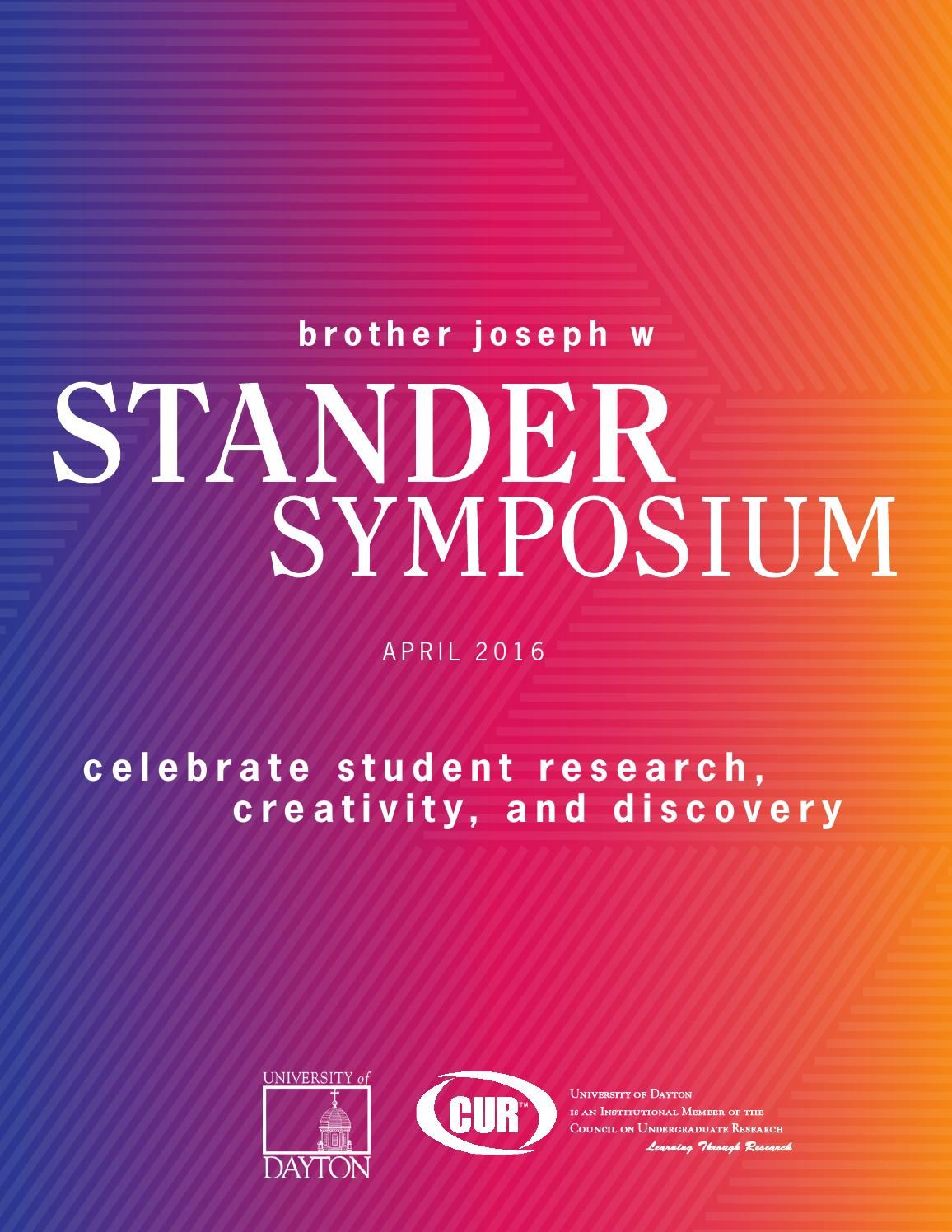 Univ of Dayton Stander Symposium, 2016 Abstract Book by University ...