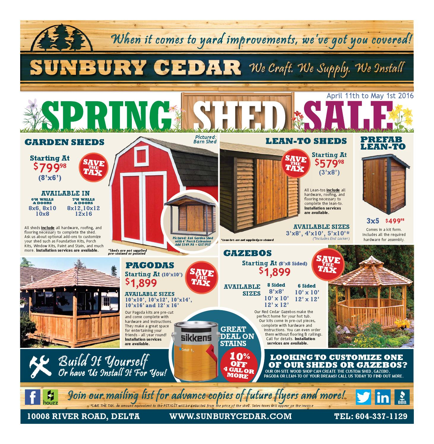 Sunbury Cedar Spring Shed Sale - APR 11-MAY 1 2016 by