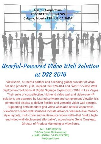 Userful powered video wall solution at dse 2016 by Userful