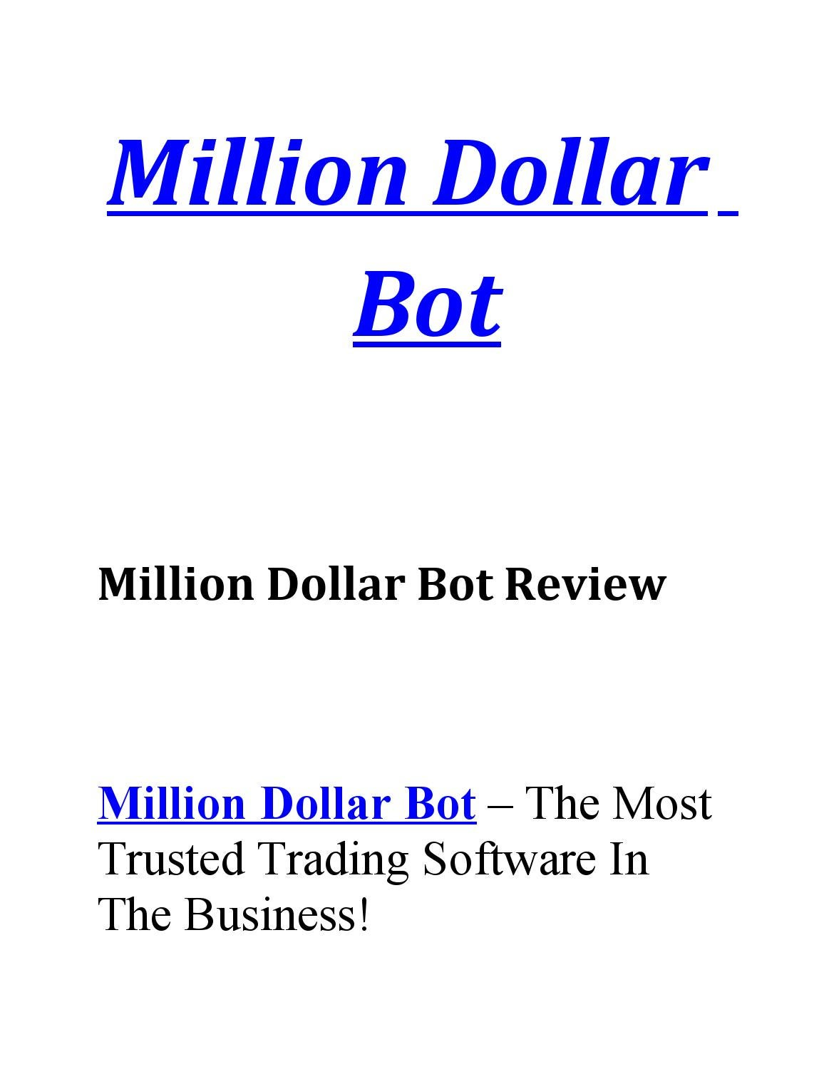 Million Dollar Bot By Tradingsystems