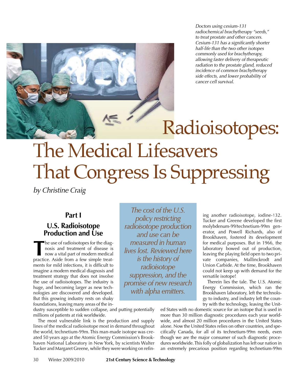 Radioisotopes: Medical Lifesavers That Congress is