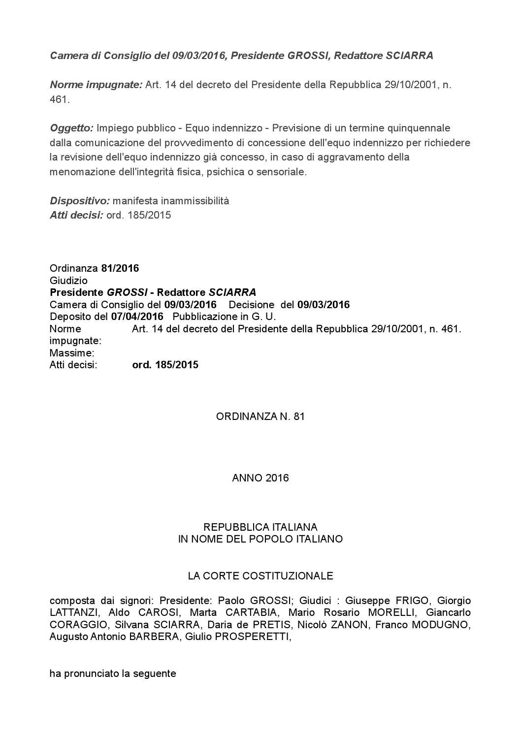 Norme impugnate art 14 del decreto del presidente della for Decreto presidente della repubblica