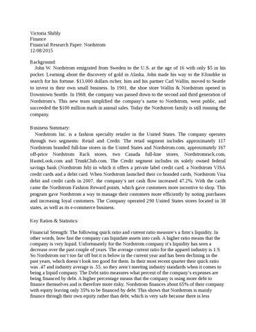 nordstrom financial statement analysis
