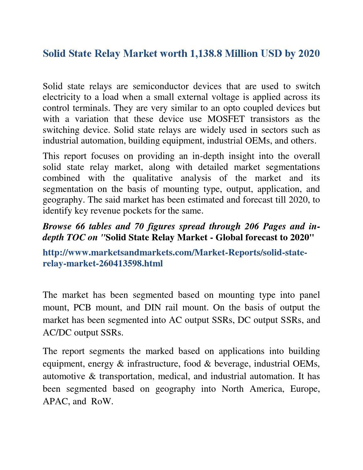 Solid State Relay Market By Mounting 2020 Marketsandmarkets Celduc Prashantv Issuu