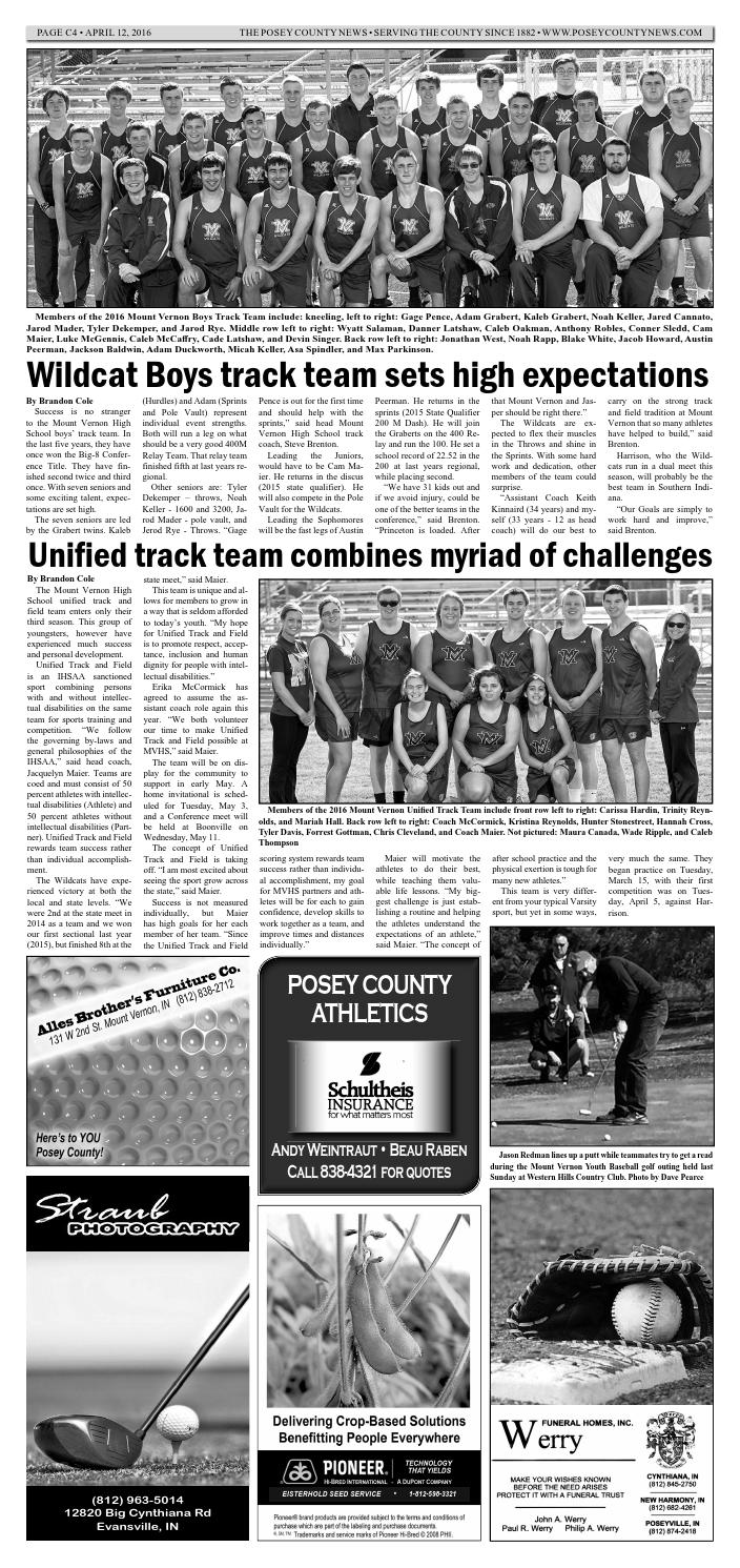 April 12, 2016 - The Posey County News by The Posey County